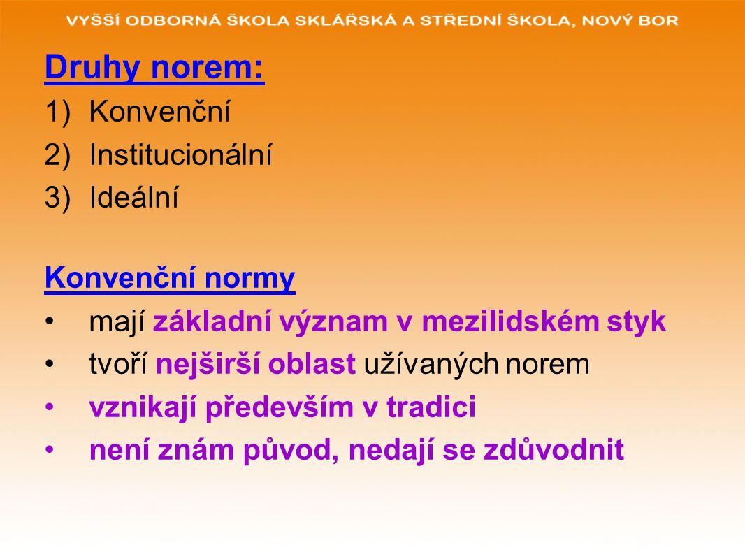 Druhy norem: 1)Konvenční 2)Institucionální 3)Ideální Konvenční normy mají základní význam v mezilidském styk tvoří nejširší oblast užívaných norem vzn
