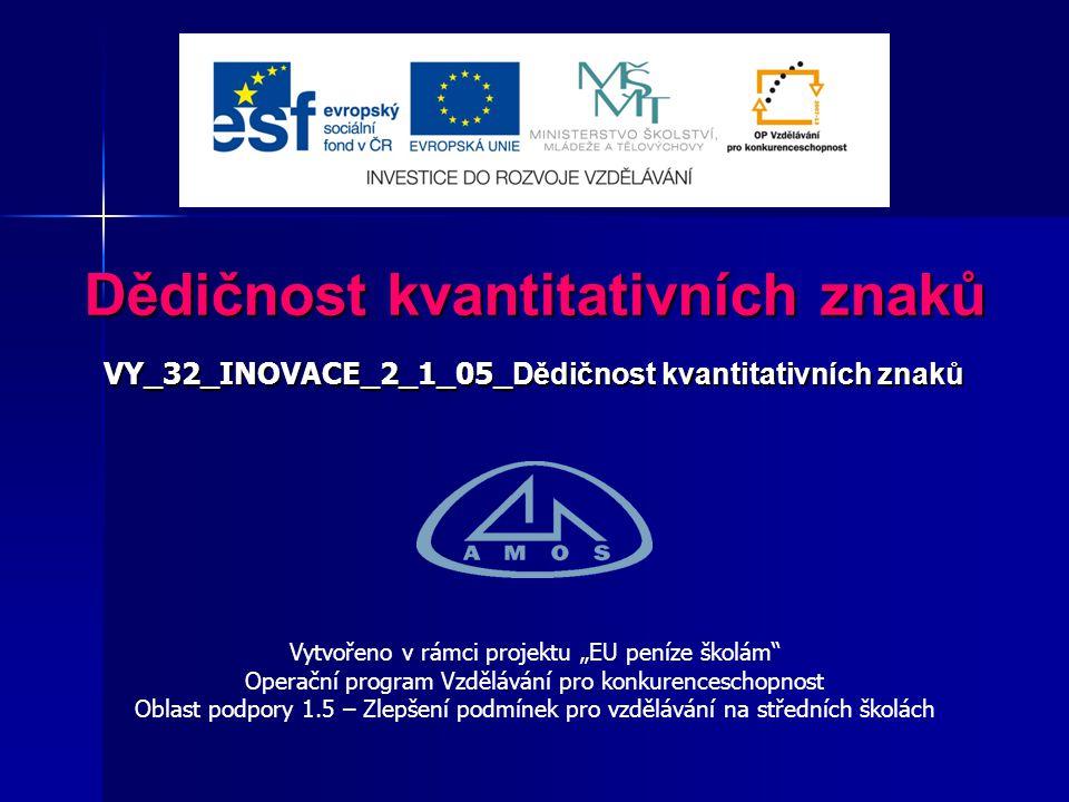 2 Číslo projektu:CZ.1.07/1.5.00/34.0554 Šablona:III/2 Inovace a zkvalitnění výuky prostřednictvím ICT Sada číslo:2_1 Název materiálu:VY_32_INOVACE_2_1_05 _Dědičnost kvantitativních znaků Autor:Ing.