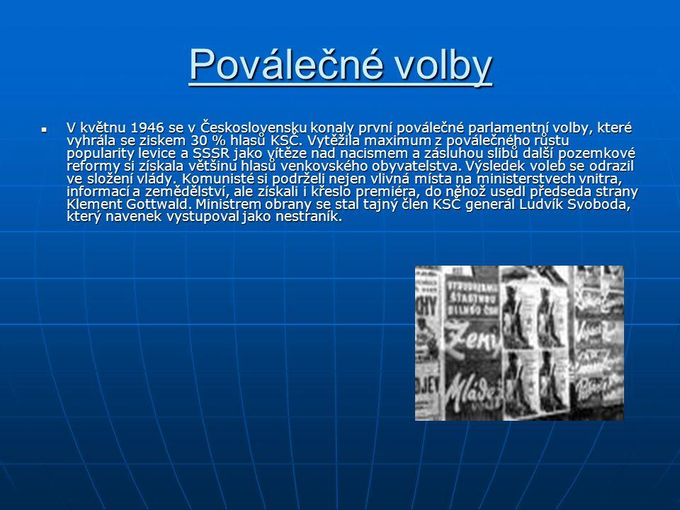 Poválečné volby V květnu 1946 se v Československu konaly první poválečné parlamentní volby, které vyhrála se ziskem 30 % hlasů KSČ. Vytěžila maximum z