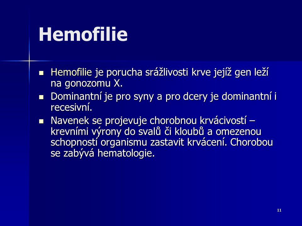 11 Hemofilie Hemofilie je porucha srážlivosti krve jejíž gen leží na gonozomu X. Hemofilie je porucha srážlivosti krve jejíž gen leží na gonozomu X. D