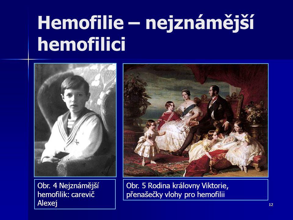 12 Hemofilie – nejznámější hemofilici Obr. 4 Nejznámější hemofilik: carevič Alexej Obr. 5 Rodina královny Viktorie, přenašečky vlohy pro hemofilii
