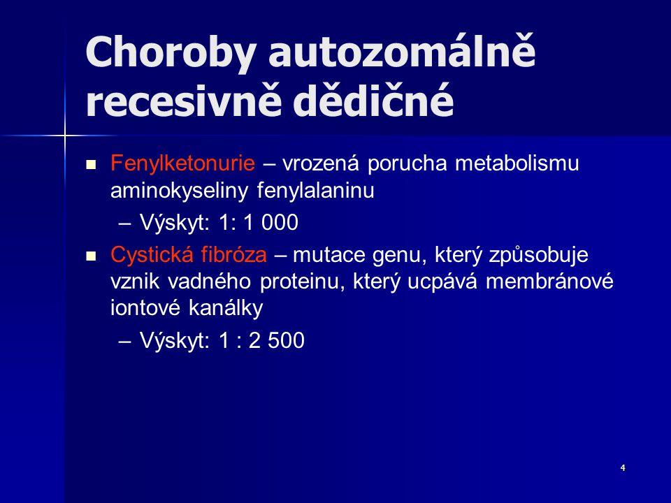 Choroby autozomálně recesivně dědičné Fenylketonurie – vrozená porucha metabolismu aminokyseliny fenylalaninu – –Výskyt: 1: 1 000 Cystická fibróza – mutace genu, který způsobuje vznik vadného proteinu, který ucpává membránové iontové kanálky – –Výskyt: 1 : 2 500 4