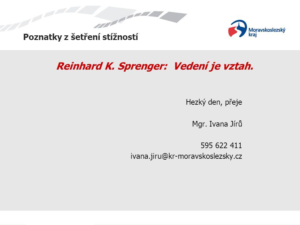 Poznatky z šetření stížností Reinhard K. Sprenger: Vedení je vztah. Hezký den, přeje Mgr. Ivana Jírů 595 622 411 ivana.jiru@kr-moravskoslezsky.cz