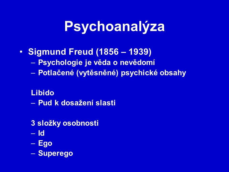 Psychoanalýza Sigmund Freud (1856 – 1939) –Psychologie je věda o nevědomí –Potlačené (vytěsněné) psychické obsahy Libido –Pud k dosažení slasti 3 složky osobnosti –Id –Ego –Superego