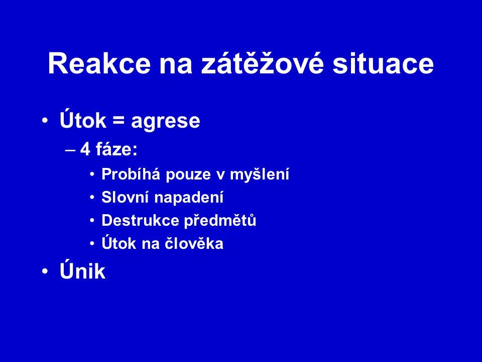 Reakce na zátěžové situace Útok = agrese –4 fáze: Probíhá pouze v myšlení Slovní napadení Destrukce předmětů Útok na člověka Únik