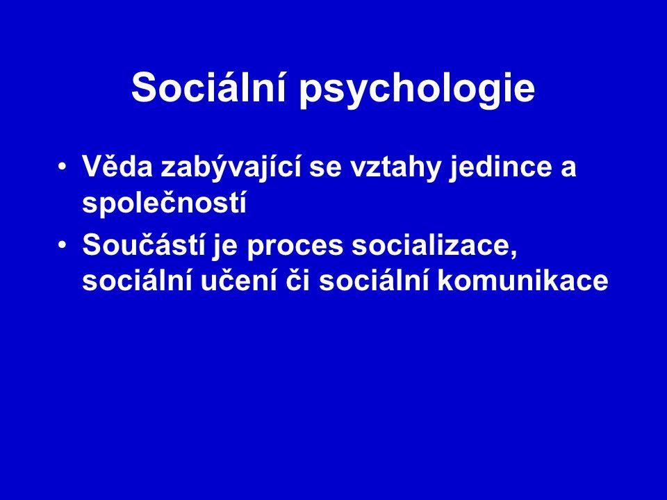 Věda zabývající se vztahy jedince a společností Součástí je proces socializace, sociální učení či sociální komunikace