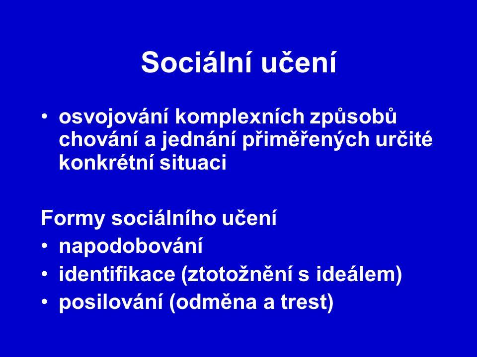 Sociální učení osvojování komplexních způsobů chování a jednání přiměřených určité konkrétní situaci Formy sociálního učení napodobování identifikace (ztotožnění s ideálem) posilování (odměna a trest)