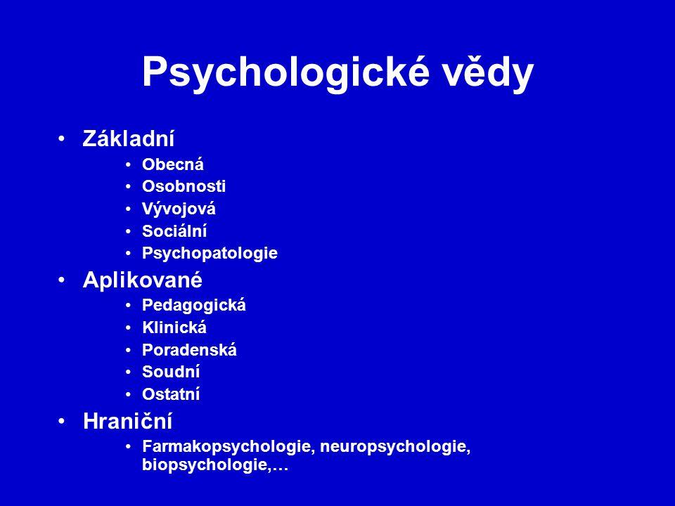 Psychologické vědy Základní Obecná Osobnosti Vývojová Sociální Psychopatologie Aplikované Pedagogická Klinická Poradenská Soudní Ostatní Hraniční Farmakopsychologie, neuropsychologie, biopsychologie,…