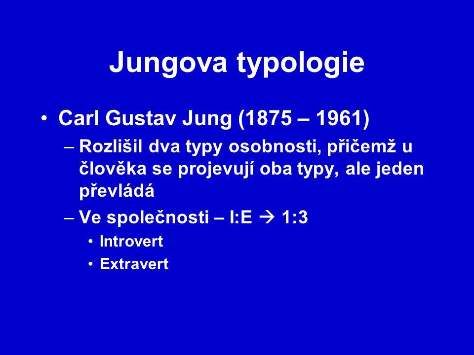 Jungova typologie Carl Gustav Jung (1875 – 1961) –Rozlišil dva typy osobnosti, přičemž u člověka se projevují oba typy, ale jeden převládá –Ve společn