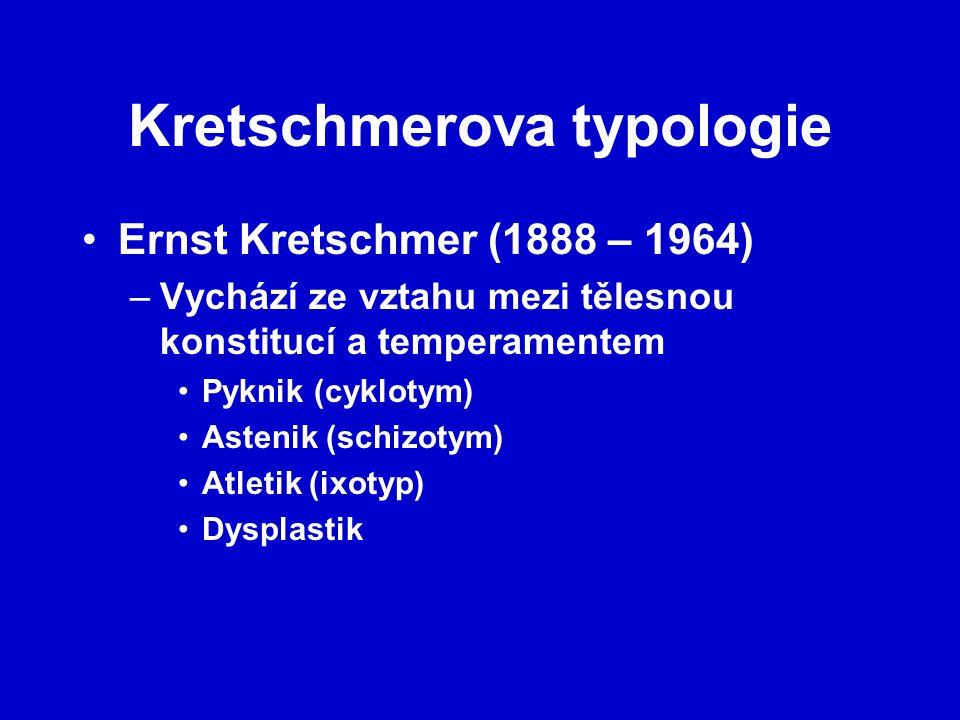 Kretschmerova typologie Ernst Kretschmer (1888 – 1964) –Vychází ze vztahu mezi tělesnou konstitucí a temperamentem Pyknik (cyklotym) Astenik (schizotym) Atletik (ixotyp) Dysplastik