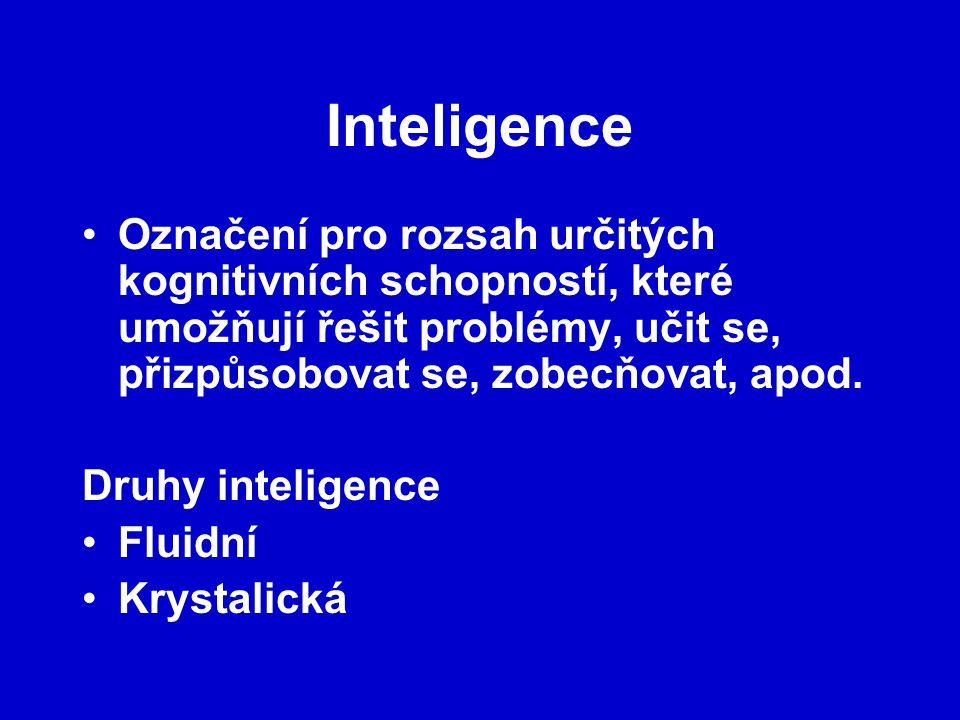 Inteligence Označení pro rozsah určitých kognitivních schopností, které umožňují řešit problémy, učit se, přizpůsobovat se, zobecňovat, apod. Druhy in