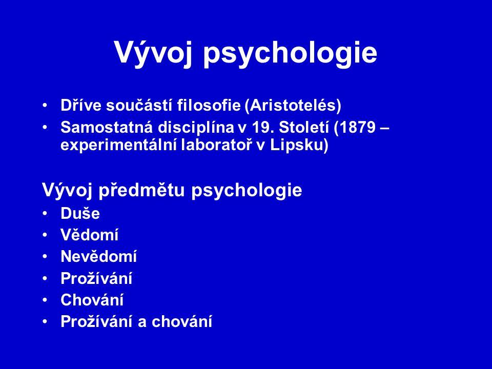 Vývoj psychologie Dříve součástí filosofie (Aristotelés) Samostatná disciplína v 19. Století (1879 – experimentální laboratoř v Lipsku) Vývoj předmětu