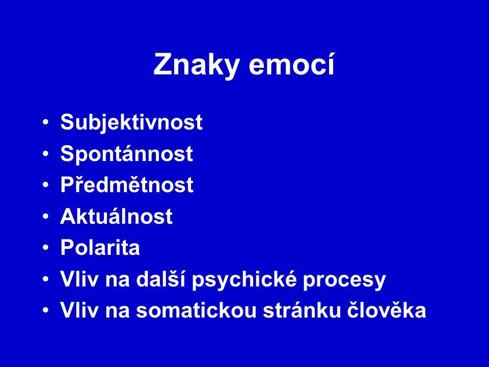 Znaky emocí Subjektivnost Spontánnost Předmětnost Aktuálnost Polarita Vliv na další psychické procesy Vliv na somatickou stránku člověka