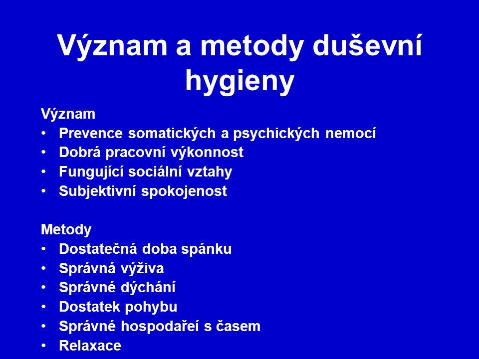 Význam a metody duševní hygieny Význam Prevence somatických a psychických nemocí Dobrá pracovní výkonnost Fungující sociální vztahy Subjektivní spokoj