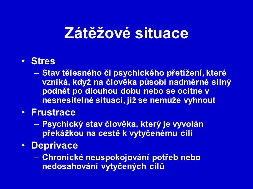 Zátěžové situace Stres –Stav tělesného či psychického přetížení, které vzniká, když na člověka působí nadměrně silný podnět po dlouhou dobu nebo se oc