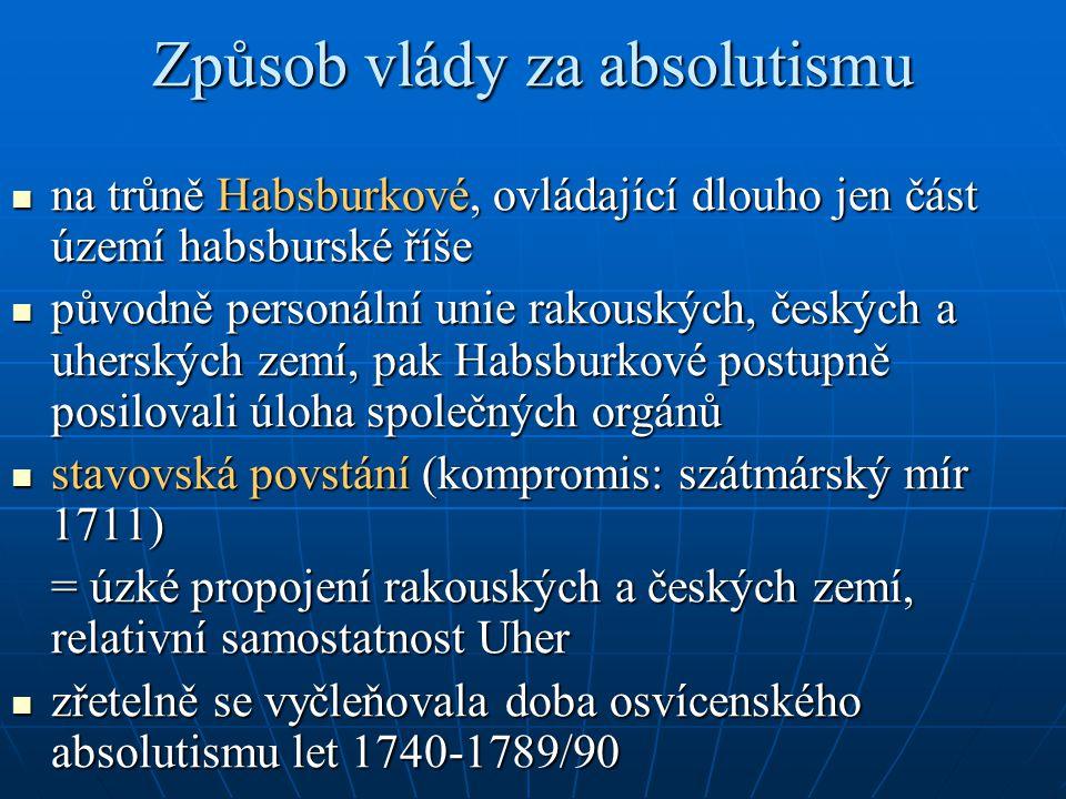 Způsob vlády za absolutismu na trůně Habsburkové, ovládající dlouho jen část území habsburské říše na trůně Habsburkové, ovládající dlouho jen část úz