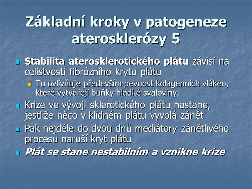 Základní kroky v patogeneze aterosklerózy 5 Stabilita aterosklerotického plátu závisí na celistvosti fibrózního krytu plátu Stabilita aterosklerotické