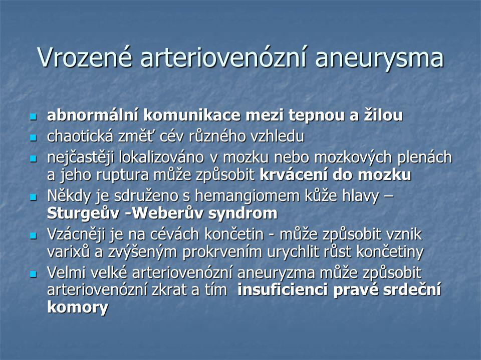 Vrozené arteriovenózní aneurysma abnormální komunikace mezi tepnou a žilou abnormální komunikace mezi tepnou a žilou chaotická změť cév různého vzhled