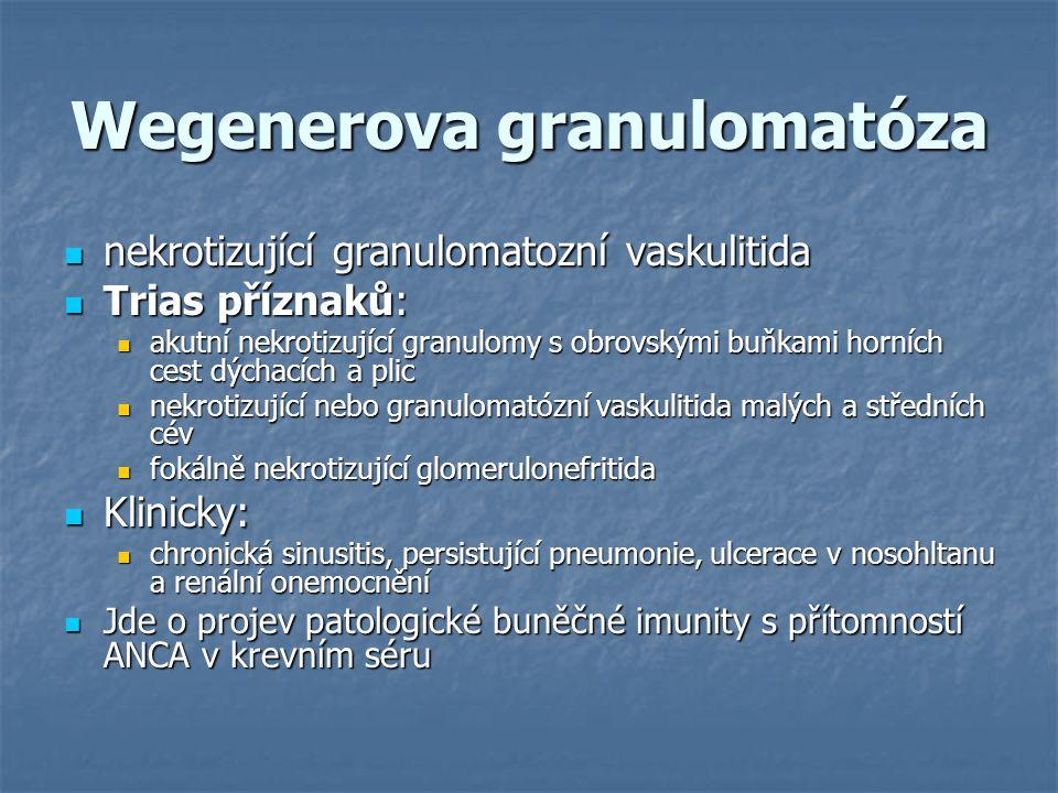Wegenerova granulomatóza nekrotizující granulomatozní vaskulitida nekrotizující granulomatozní vaskulitida Trias příznaků: Trias příznaků: akutní nekr