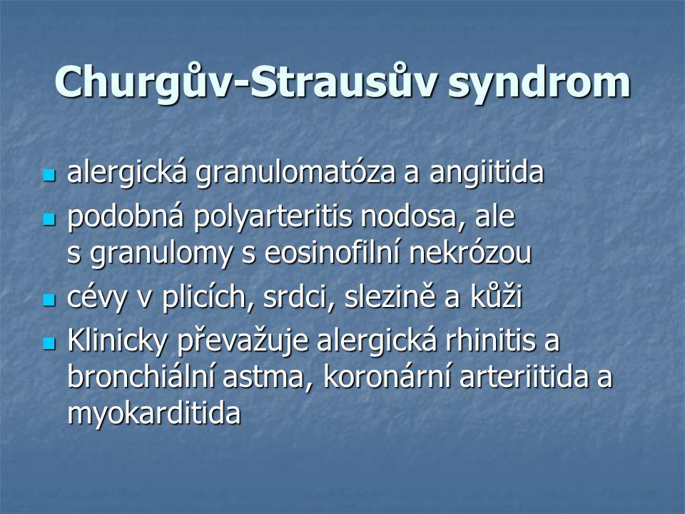 Churgův-Strausův syndrom alergická granulomatóza a angiitida alergická granulomatóza a angiitida podobná polyarteritis nodosa, ale s granulomy s eosin