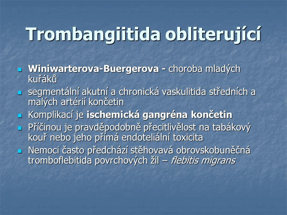 Trombangiitida obliterující Winiwarterova-Buergerova - choroba mladých kuřáků Winiwarterova-Buergerova - choroba mladých kuřáků segmentální akutní a c