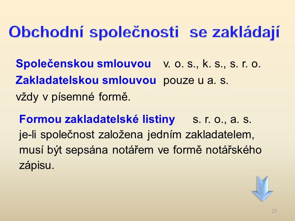 Společenskou smlouvouv. o. s., k. s., s. r. o. Zakladatelskou smlouvou pouze u a. s. vždy v písemné formě. Formou zakladatelské listiny s. r. o., a. s