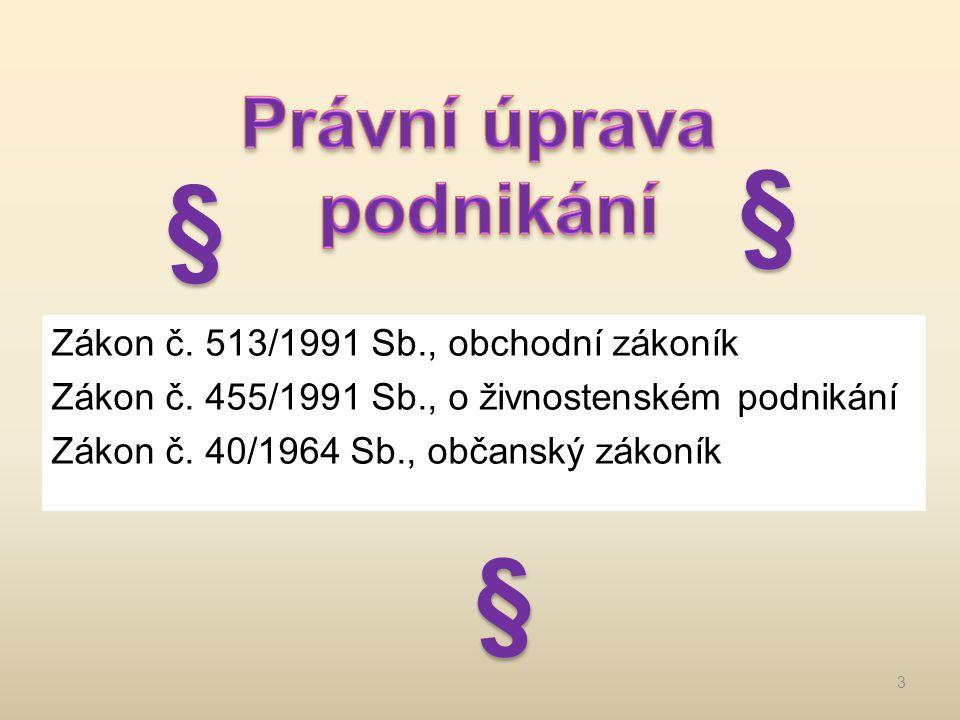 Zákon č.513/1991 Sb., obchodní zákoník Zákon č. 455/1991 Sb., o živnostenském podnikání Zákon č.