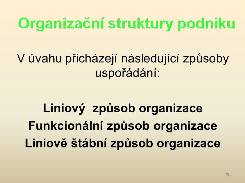 V úvahu přicházejí následující způsoby uspořádání: Liniový způsob organizace Funkcionální způsob organizace Liniově štábní způsob organizace 36