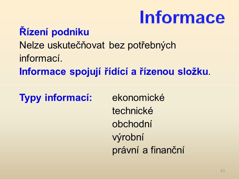 Řízení podniku Nelze uskutečňovat bez potřebných informací. Informace spojují řídící a řízenou složku. Typy informací:ekonomické technické obchodní vý