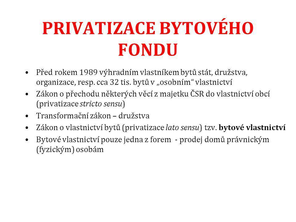 """PRIVATIZACE BYTOVÉHO FONDU Před rokem 1989 výhradním vlastníkem bytů stát, družstva, organizace, resp. cca 32 tis. bytů v """"osobním"""" vlastnictví Zákon"""