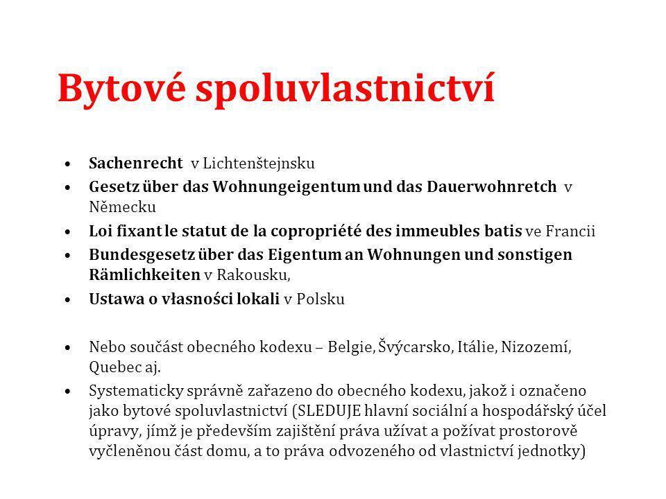 Bytové spoluvlastnictví Sachenrecht v Lichtenštejnsku Gesetz über das Wohnungeigentum und das Dauerwohnretch v Německu Loi fixant le statut de la copr