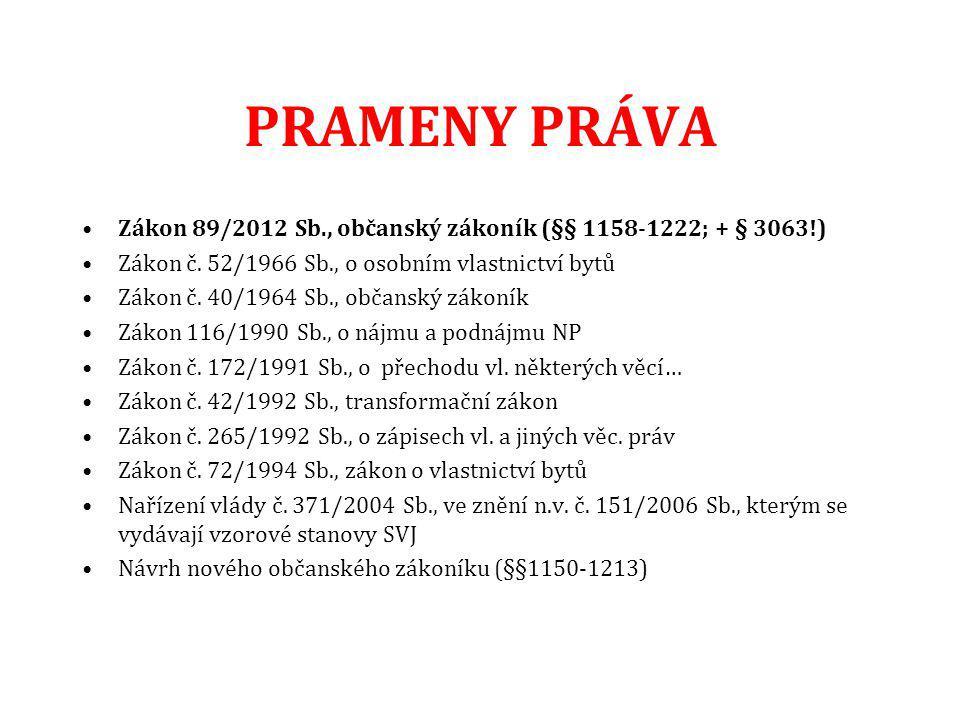 PRAMENY PRÁVA Zákon 89/2012 Sb., občanský zákoník (§§ 1158-1222; + § 3063!) Zákon č.