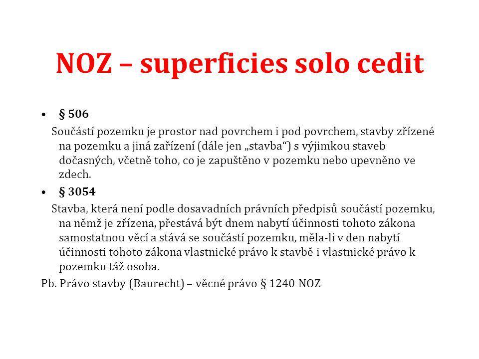 """NOZ – superficies solo cedit § 506 Součástí pozemku je prostor nad povrchem i pod povrchem, stavby zřízené na pozemku a jiná zařízení (dále jen """"stavb"""