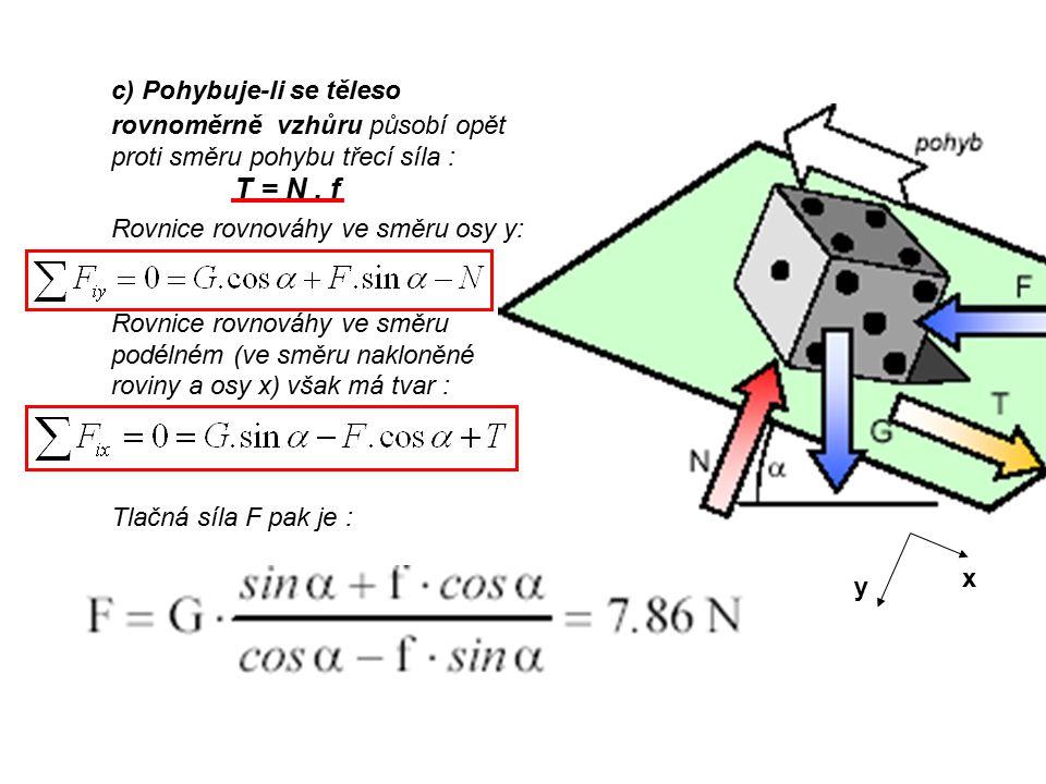 c) Pohybuje-li se těleso rovnoměrně vzhůru působí opět proti směru pohybu třecí síla : T = N.