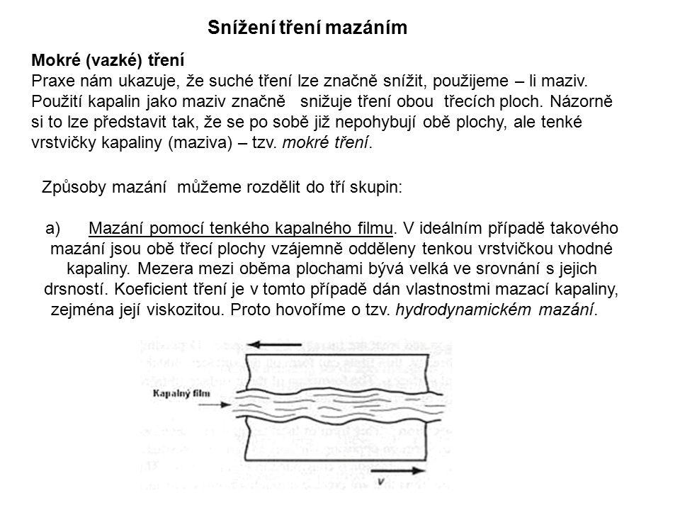 Způsoby mazání můžeme rozdělit do tří skupin: a) Mazání pomocí tenkého kapalného filmu.