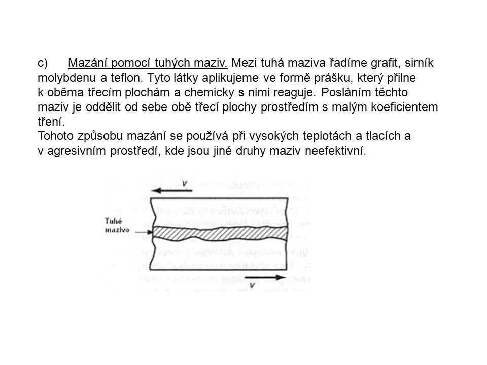 c) Mazání pomocí tuhých maziv.Mezi tuhá maziva řadíme grafit, sirník molybdenu a teflon.