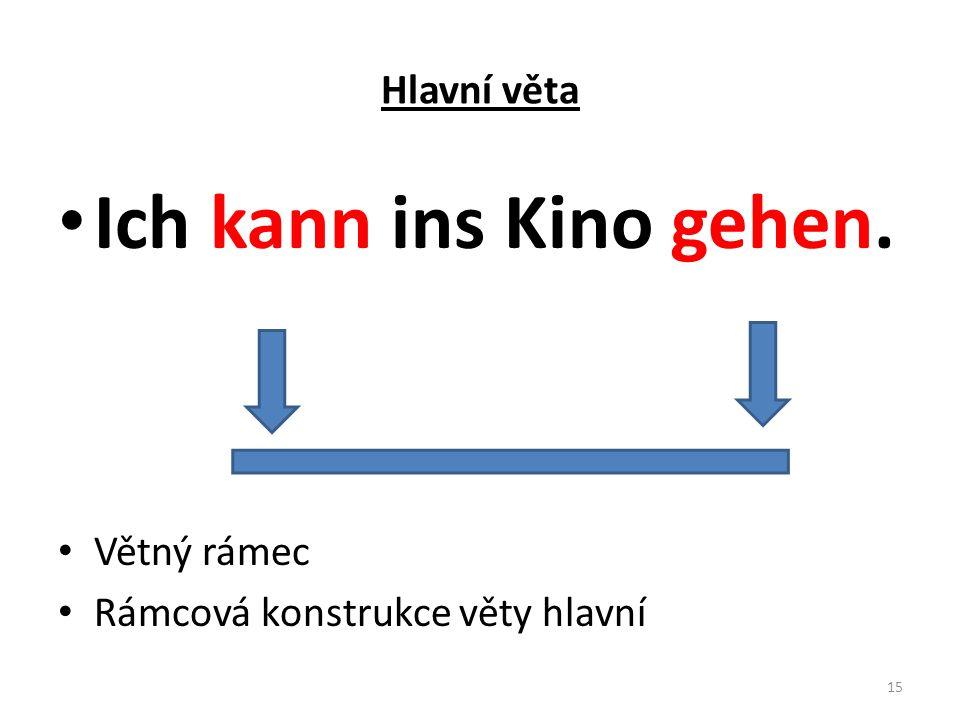 Hlavní věta Ich kann ins Kino gehen. Větný rámec Rámcová konstrukce věty hlavní 15
