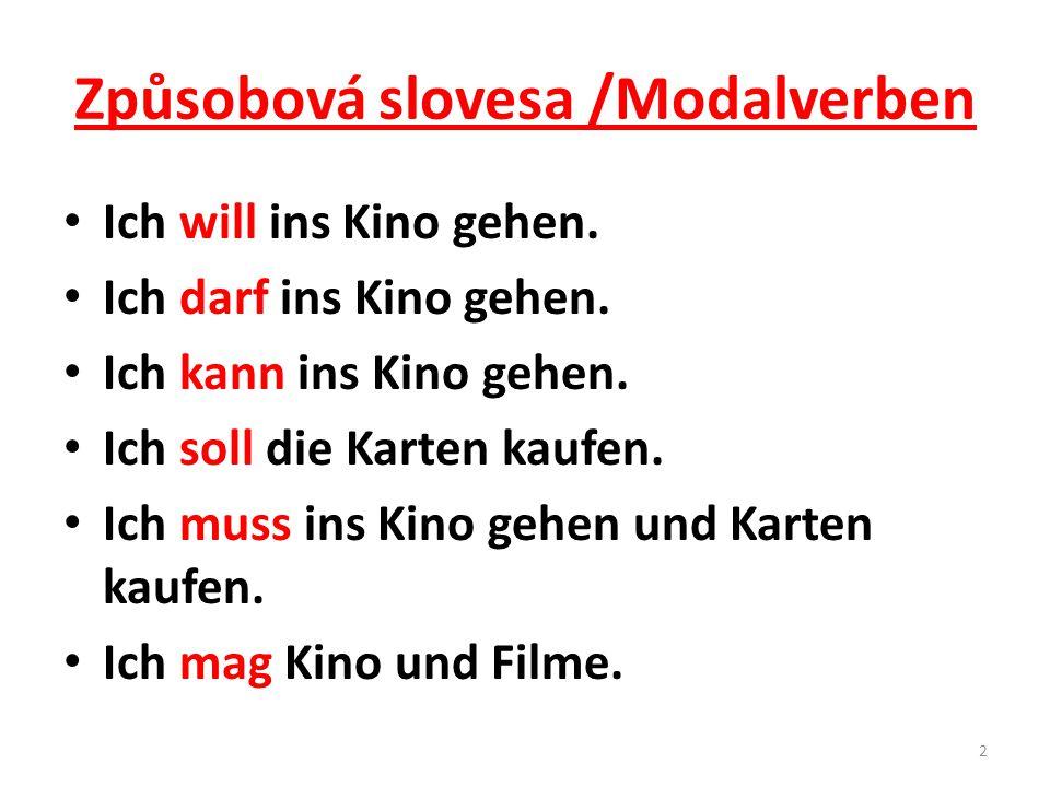 Způsobová slovesa /Modalverben Ich will ins Kino gehen.