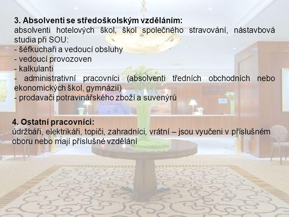 3. Absolventi se středoškolským vzděláním: absolventi hotelových škol, škol společného stravování, nástavbová studia při SOU: - šéfkuchaři a vedoucí o