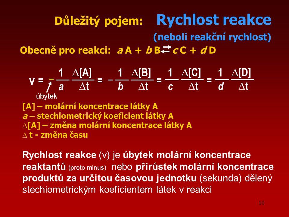 10 ∆[B]∆[B] Důležitý pojem: Rychlost reakce (neboli reakční rychlost) v Obecně pro reakci: a A + b B c C + d D = 1 b ∆t∆t ∆[A]∆[A] = 1 a ∆t∆t ∆[C]∆[C]