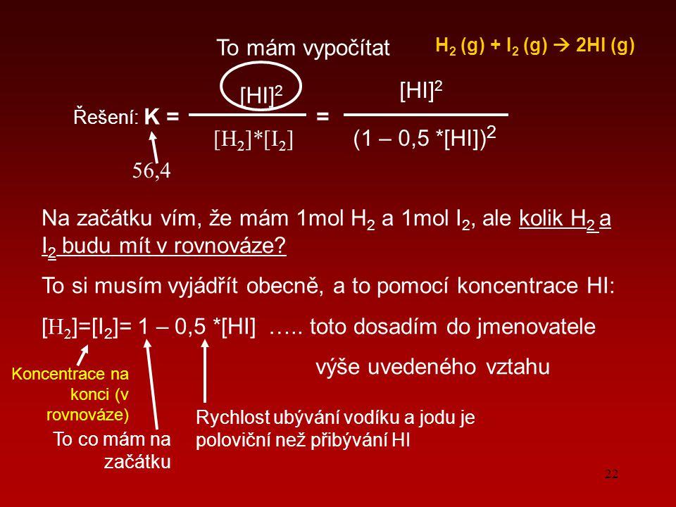 22 H 2 (g) + I 2 (g)  2HI (g) Řešení: K = = [HI] 2 [H2]*[I2][H2]*[I2] To mám vypočítat Na začátku vím, že mám 1mol H 2 a 1mol I 2, ale kolik H 2 a I 2 budu mít v rovnováze.