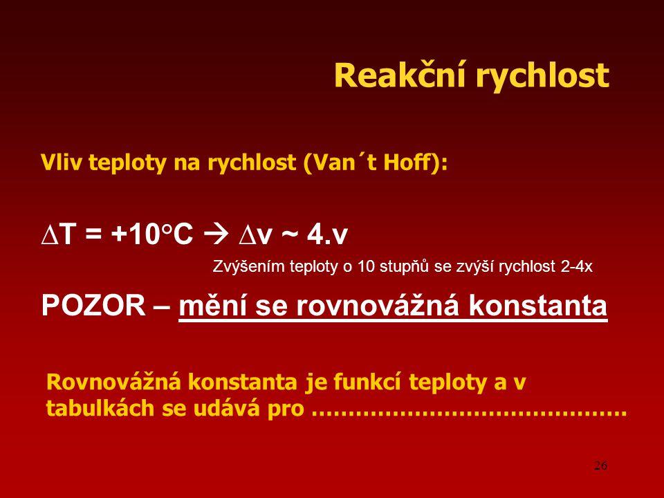 26 ∆T = +10°C  ∆v ~ 4.v POZOR – mění se rovnovážná konstanta Vliv teploty na rychlost (Van´t Hoff): Reakční rychlost Rovnovážná konstanta je funkcí t