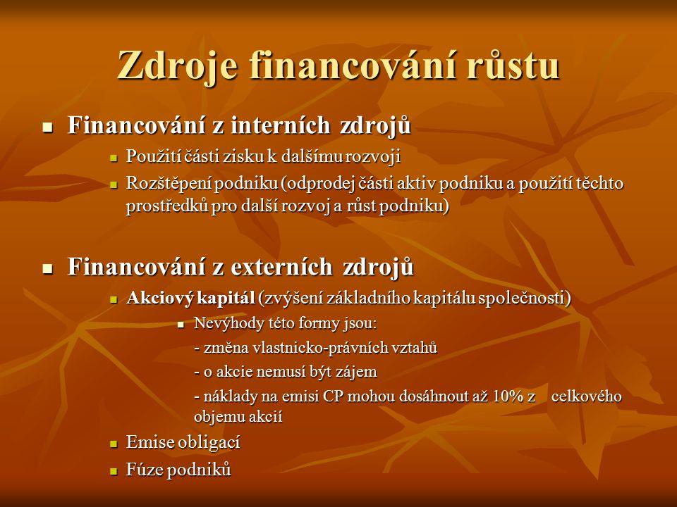 Zdroje financování růstu Financování z interních zdrojů Financování z interních zdrojů Použití části zisku k dalšímu rozvoji Použití části zisku k dal