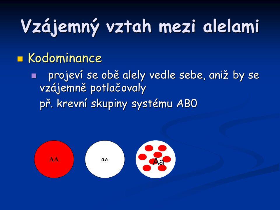 Vzájemný vztah mezi alelami Kodominance Kodominance projeví se obě alely vedle sebe, aniž by se vzájemně potlačovaly projeví se obě alely vedle sebe,