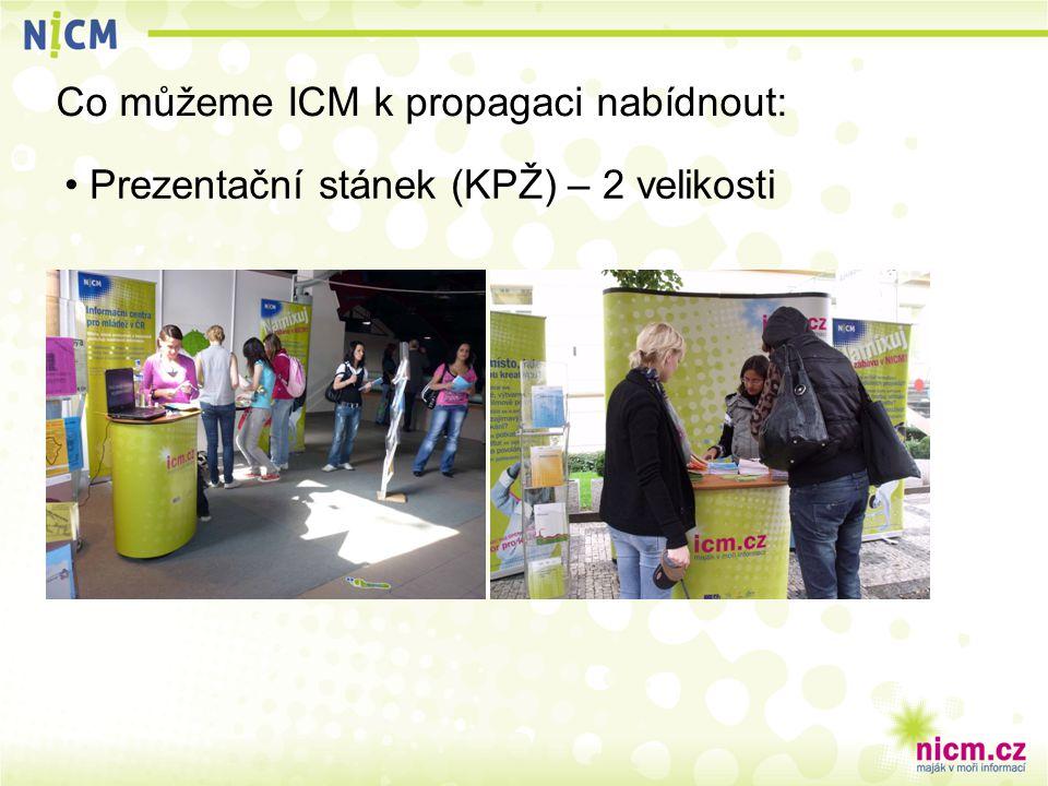 Co můžeme ICM k propagaci nabídnout: Prezentační stánek (KPŽ) – 2 velikosti