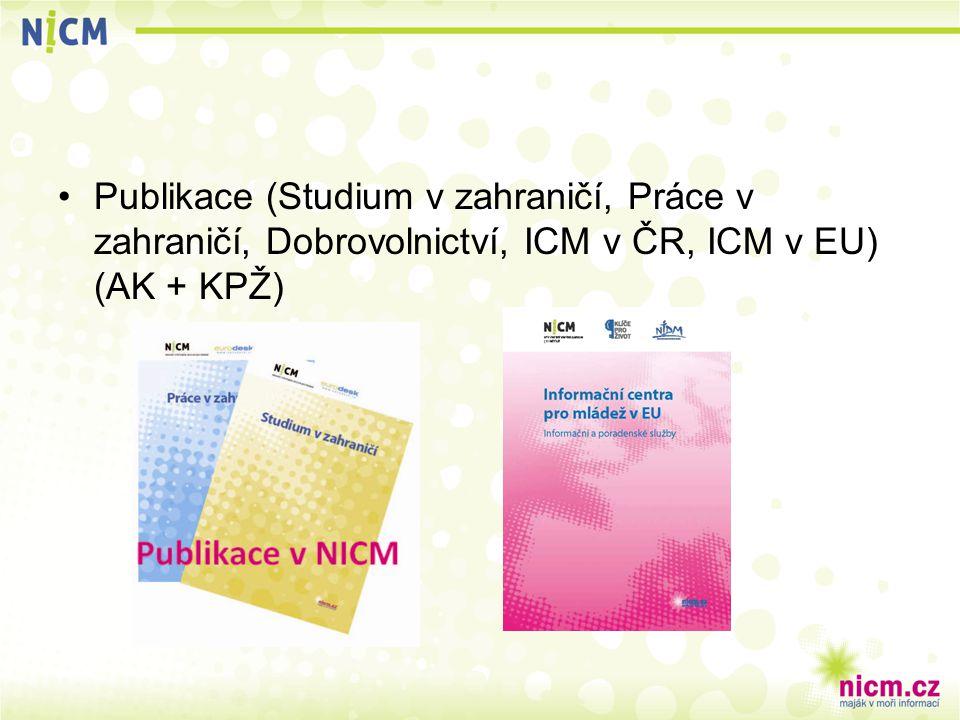 Publikace (Studium v zahraničí, Práce v zahraničí, Dobrovolnictví, ICM v ČR, ICM v EU) (AK + KPŽ)