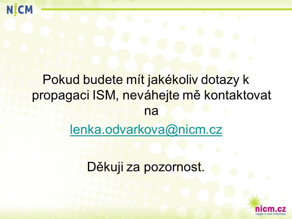 Pokud budete mít jakékoliv dotazy k propagaci ISM, neváhejte mě kontaktovat na lenka.odvarkova@nicm.cz Děkuji za pozornost.
