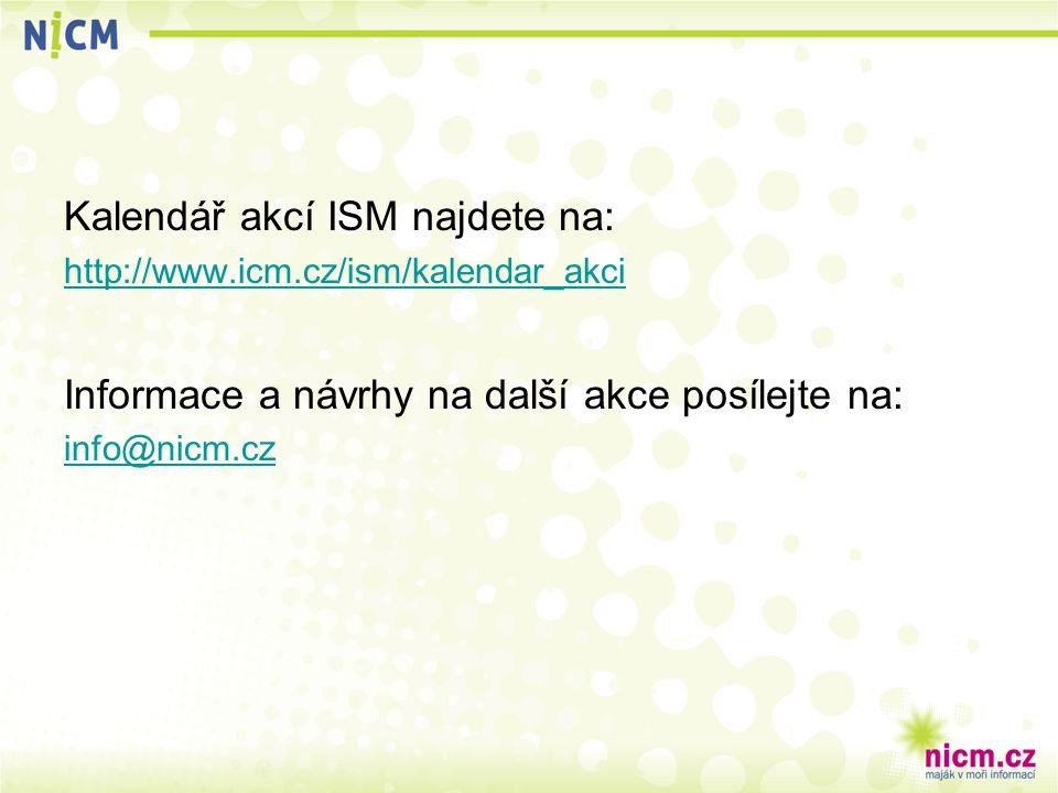 Kalendář akcí ISM najdete na: http://www.icm.cz/ism/kalendar_akci Informace a návrhy na další akce posílejte na: info@nicm.cz