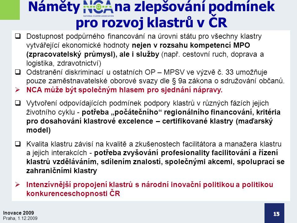 Inovace 2009 Praha, 1.12.2009 Náměty na zlepšování podmínek pro rozvoj klastrů v ČR 15  Dostupnost podpůrného financování na úrovni státu pro všechny klastry vytvářející ekonomické hodnoty nejen v rozsahu kompetencí MPO (zpracovatelský průmysl), ale i služby (např.