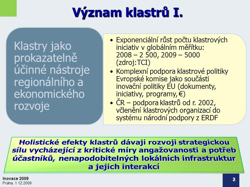 Inovace 2009 Praha, 1.12.2009 Význam klastrů I.